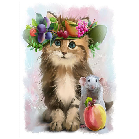 Diamond Painting - Full Round - Cute Cat and Mouse