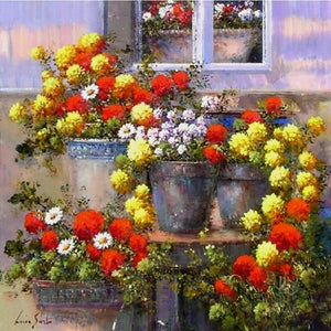 Diamond Painting - Full Round - Potted Flowers