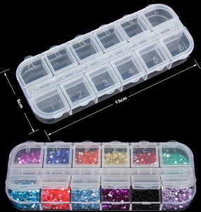 Nail Art Box Empty Divided Case Nail Tips Rhinestone Beads Gems Storage Box