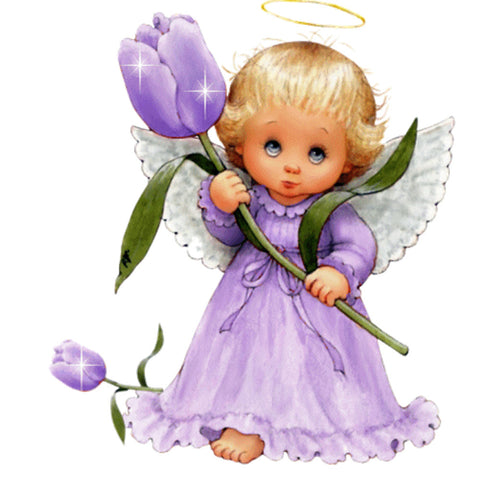 Diamond Painting - Full Round - Little Angel in Purple Dress