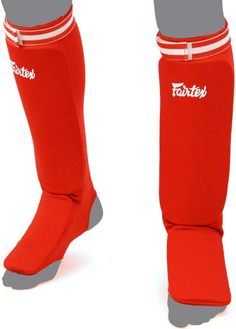 Fairtex Shin Pads SPE Elastic Shin Guards Red
