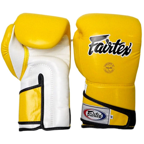 Fairtex Boxing Gloves BGV6 Stylish Angular Sparring Gloves – Locked Thumb Yellow