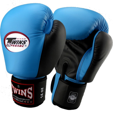 Twins Special Muay Thai Boxing Gloves Black Lightblue BGVL-3