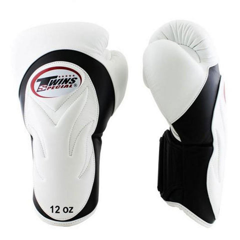 Twins Special New Style Boxing Gloves Leather Black White BGVL-6
