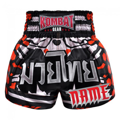 Custom Muay Thai Boxing Geometry Shorts With Red Black White