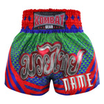Custom Kombat Gear Muay Thai Boxing Geometry Shorts Green Navy Blue With Red Star Pattern And Stripe