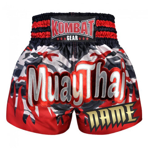 Custom Kombat Gear Muay Thai Boxing Camouglage shorts With Red Fire