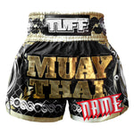 Custom TUFF Muay Thai Boxing Shorts Golden Gladiator in Black