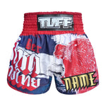 Custom TUFF Muay Thai Boxing Shorts Navy Blue Furious Bear