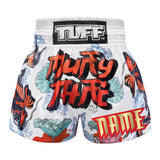 Custom TUFF Muay Thai Boxing Shorts White Japanese Koi Fish With Muay Thai Text