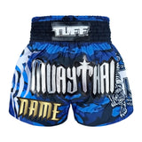 Custom TUFF Muay Thai Boxing Shorts New Blue Military Camouflage