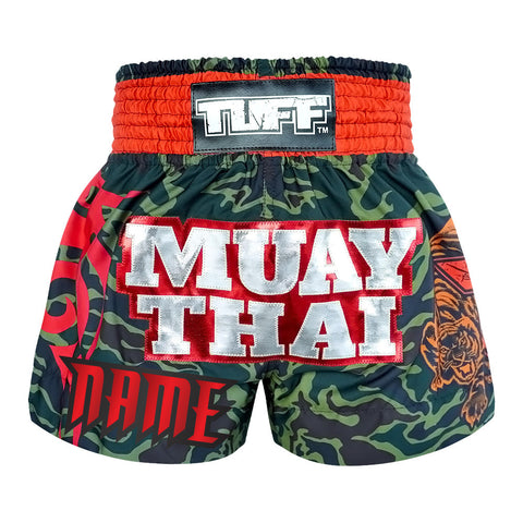 Custom TUFF Muay Thai Boxing Shorts New Green Military Camouflage