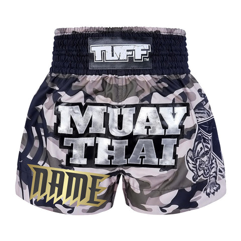 Custom TUFF Muay Thai Boxing Shorts New Grey Military Camouflage