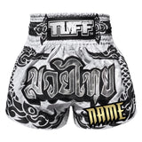 Custom TUFF Muay Thai Boxing Shorts The Great Hongsa White