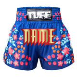 Custom TUFF Muay Thai Boxing Shorts Blue Sakura with Nightingale Bird