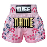 Custom TUFF Muay Thai Boxing Shorts Pink Japanese Sakura with Nightingale Bird