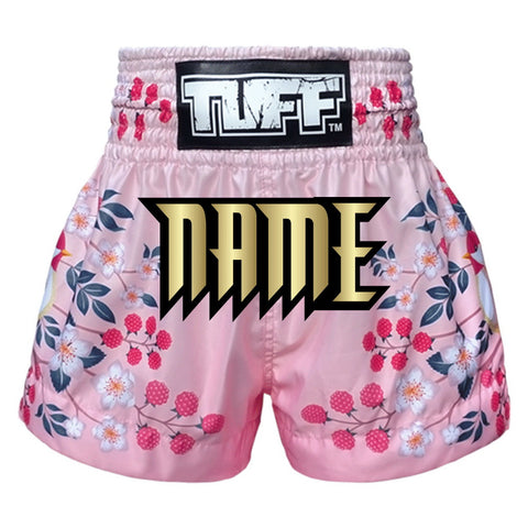 Custom TUFF Muay Thai Boxing Shorts Pink Sakura with Nightingale Bird