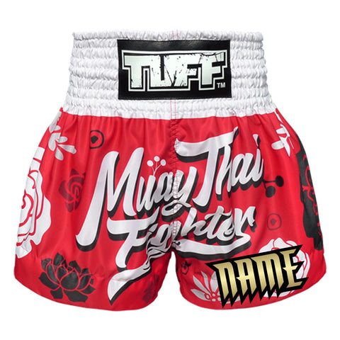 Custom TUFF Muay Thai Boxing Shorts Red Muay Thai Fighter with Flower Pattern