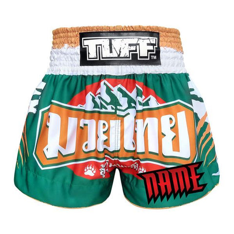 Custom TUFF Muay Thai Boxing Shorts Green Mountain Bear