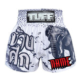 Custom TUFF Muay Thai Boxing Shorts White War Elephant