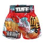 Custom TUFF Muay Thai Boxing Shorts Red Japanese Koi Fish
