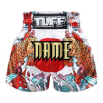 Custom TUFF Muay Thai Boxing Shorts White Japanese Koi Fish