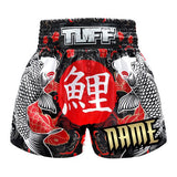 Custom TUFF Muay Thai Boxing Shorts Black Japanese Koi Fish