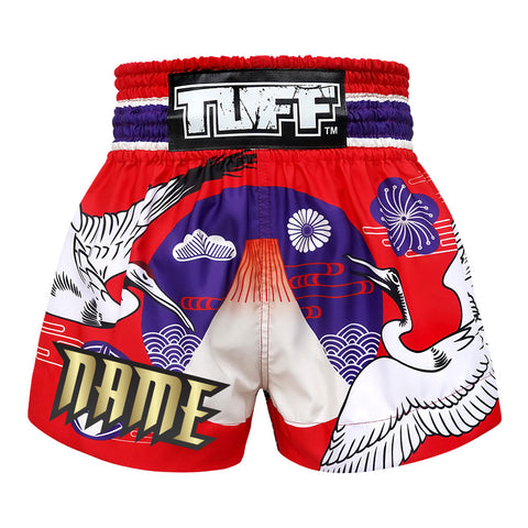 Custom TUFF Muay Thai Boxing Shorts Red Japanese Drawing Crane Birds