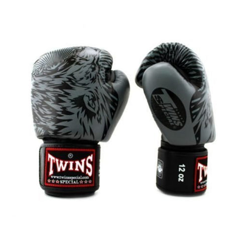 Twins Special Fancy Boxing Gloves Wolf Black-Grey FBGV-50