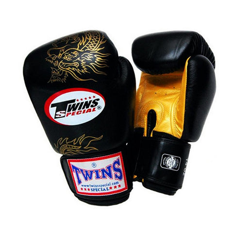 TWINS Fancy Gloves Velcro Closure Black 'Gold Dragon' FBGV-6G