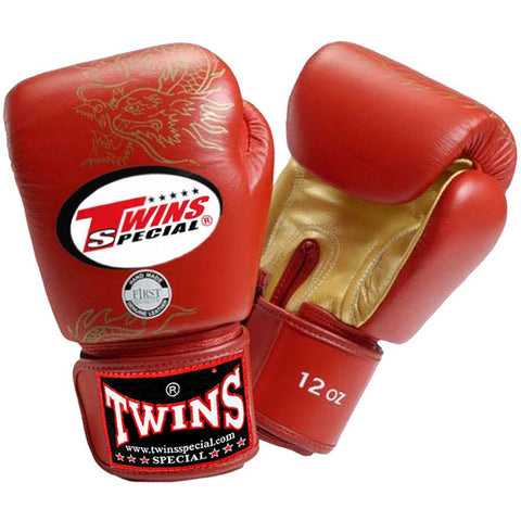 TWINS Fancy Gloves Velcro Closure Red 'Gold Dragon' FBGV-6G