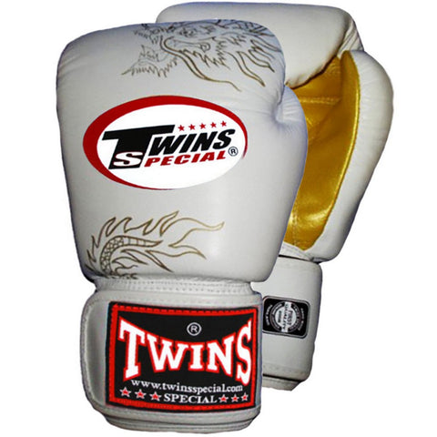 TWINS Fancy Gloves Velcro Closure White 'Gold Dragon' FBGV-6G
