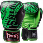 TWINS SPECIAL Fancy Boxing Gloves Velcro Premium Leather Black With Green Graphic Printed FBGV-TW2