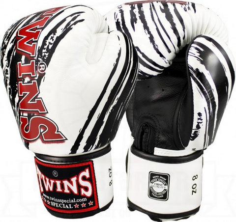 TWINS SPECIAL Fancy Boxing Gloves Velcro Premium Leather White With Black Graphic Printed FBGV-TW2