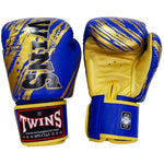 TWINS SPECIAL Fancy Boxing Gloves Velcro Premium Leather Blue With Gold Graphic Printed FBGV-TW2