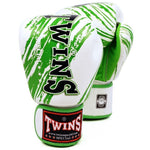 TWINS SPECIAL Fancy Boxing Gloves Velcro Premium Leather White With Green Graphic Printed FBGV-TW2