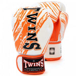 TWINS SPECIAL Fancy Boxing Gloves Velcro Premium Leather White With Orange Graphic Printed FBGV-TW2