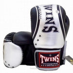 TWINS Special Fancy TW4 Boxing Gloves Leather Black Silver FBGV-TW4