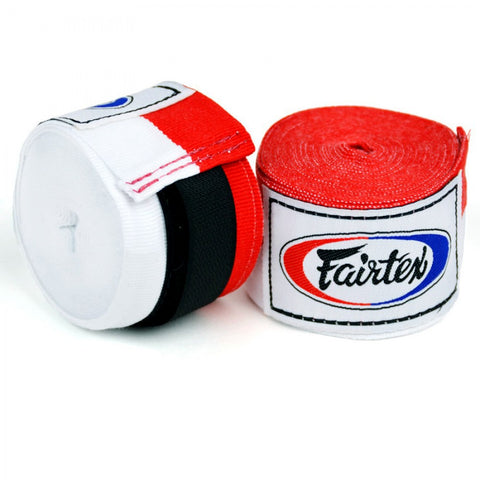 Fairtex Elastic Cotton Handwraps Red White HW2