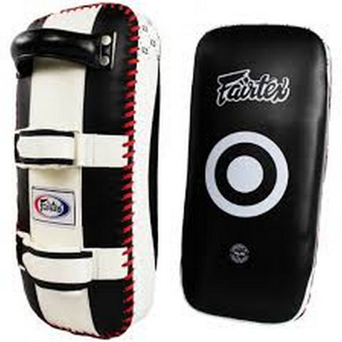Fairtex KPLC4 : Curved Kick Pads Black White