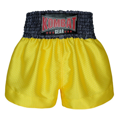 Kombat Gear Muay Thai Boxing shorts Star Pattern Yellow Grey Waist