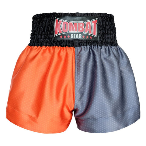 Kombat Gear Muay Thai Boxing shorts Star Pattern Two Tone Orange Grey With Black Waist