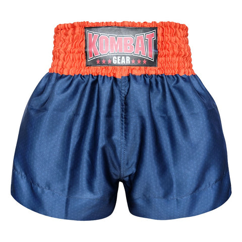 Kombat Gear Muay Thai Boxing shorts Star Pattern Navy Blue with Orange Waist
