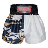 Kombat Gear Muay Thai Boxing shorts Two Tone White Grey Army Camouflage