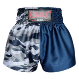 Kombat Gear Muay Thai Boxing shorts Grey Army Camouflage Navy Blue Star Pattern