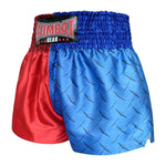 Kombat Gear Muay Thai Boxing shorts Two Tone Red Star Blue Steel Pattern