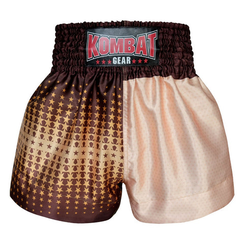 Kombat Gear Muay Thai Boxing shorts Two Tone Ivory Star Pattern Brown Star Gradient