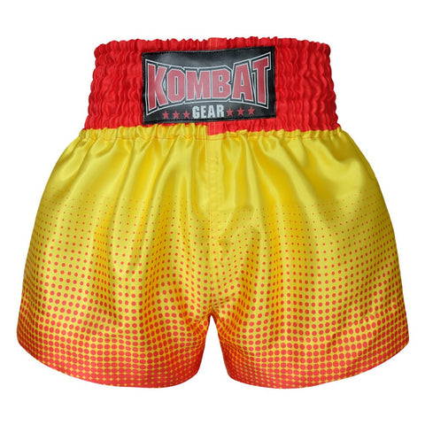 Kombat Gear Muay Thai Boxing shorts Red Gradient Polka Dot With Yellow