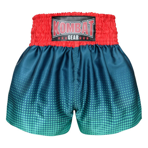 Kombat Gear Muay Thai Boxing shorts Green Gradient Polka Dot With Navy Blue