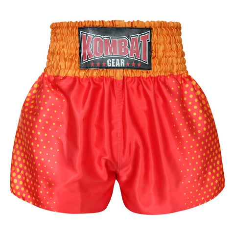Kombat Gear Muay Thai Boxing shorts Yellow Hexagon With Red